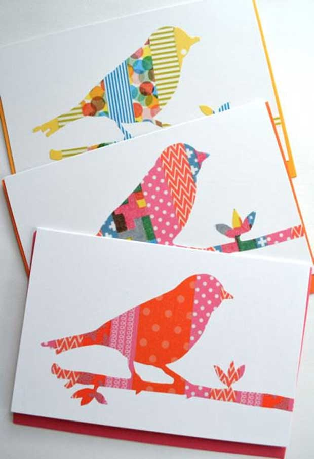 Birds on Cards with Washi Tape via Paint+Pattern