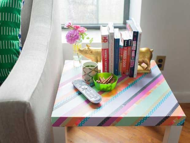 Decorating Ikea Hack with Washi Tape via Paint+Pattern