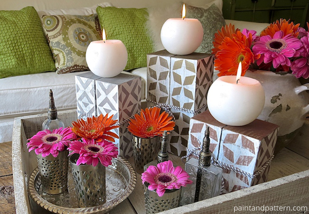 How-to Make Beautiful Candle Holders Using Stencils