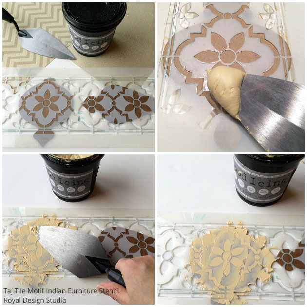 Applying Wood Icing for Homemade Tree Ornaments | Taj Trellis India Stencil by Royal Design Studio