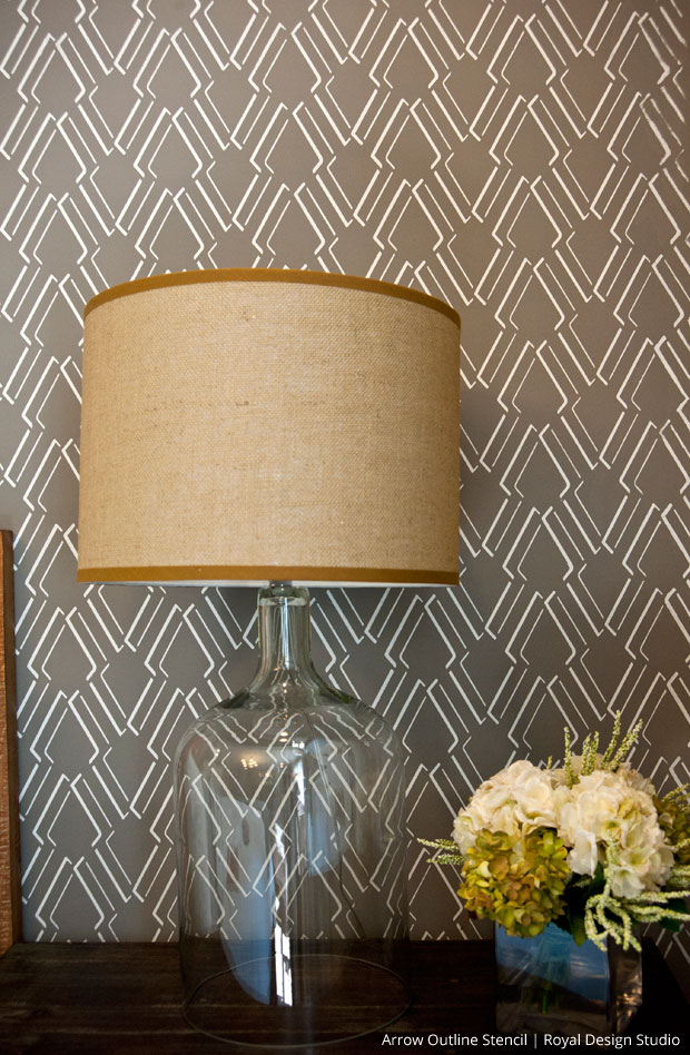 Custom Wallpaper Look with Stencils via The Painted Room | Arrow Outline Stencil by Royal Design Studio