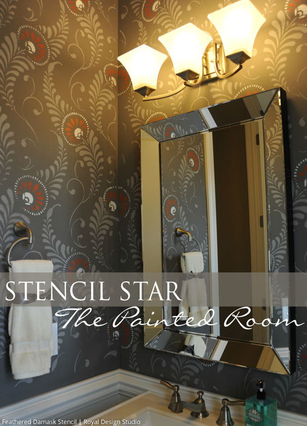 Stenciled Powder Bath via The Painted Room | Feathered Damask Stencil by Royal Design Studio
