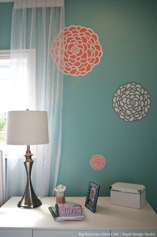 Girls' Room Makeover with Stencil via The Painted room | Bloomers Stencil Set by Royal Design Studio