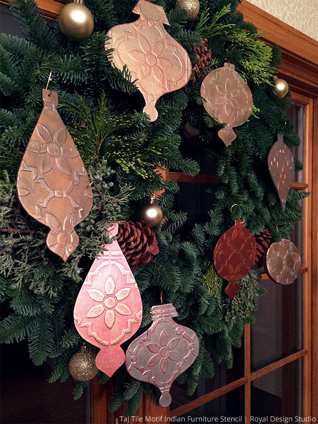 Stencil DIY: Homemade Christmas Tree Ornaments | Taj Trellis India Stencil by Royal Design Studio