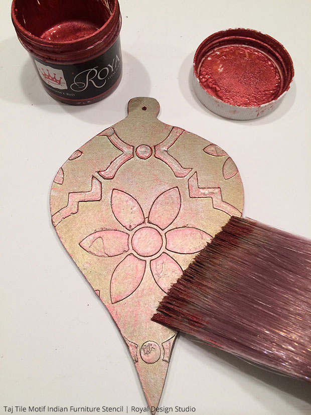 Painting Homemade Christmas Tree Ornaments with Royal Stencil Cremes | Taj Trellis India Stencil by Royal Design Studio