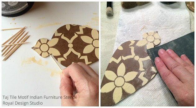 Treating Wood Icing for Homemade Tree Ornaments DIY | Taj Trellis India Stencil by Royal Design Studio