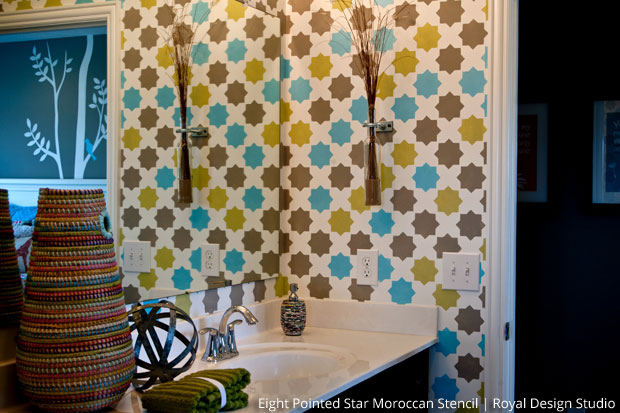Stenciled Bath via The Painted Room | Eight Pointed Stars Moroccan Stencil by Royal Design Studio
